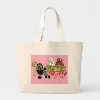 Christmas Poodle Wagon Large Tote Bag