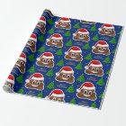christmas poop emoji with santa hat wrapping paper