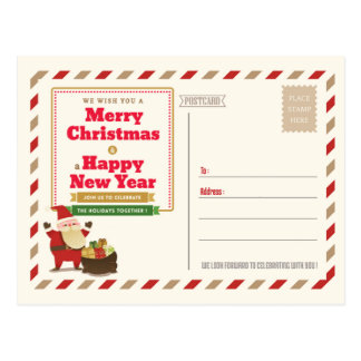 Christmas Post Card Party Invitation