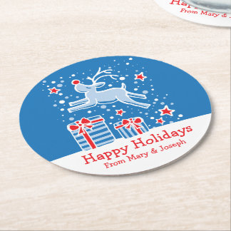 Christmas prancing reindeer art paper coasters