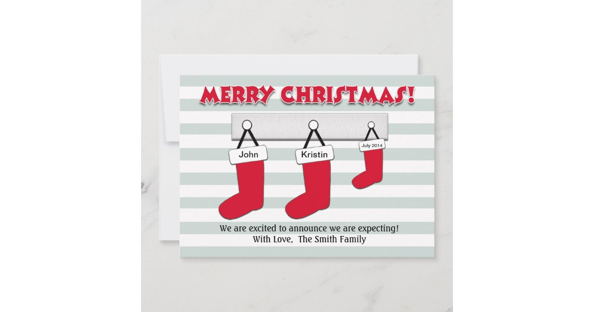 Christmas Pregnancy Announcement Card - Stockings | Zazzle.ca