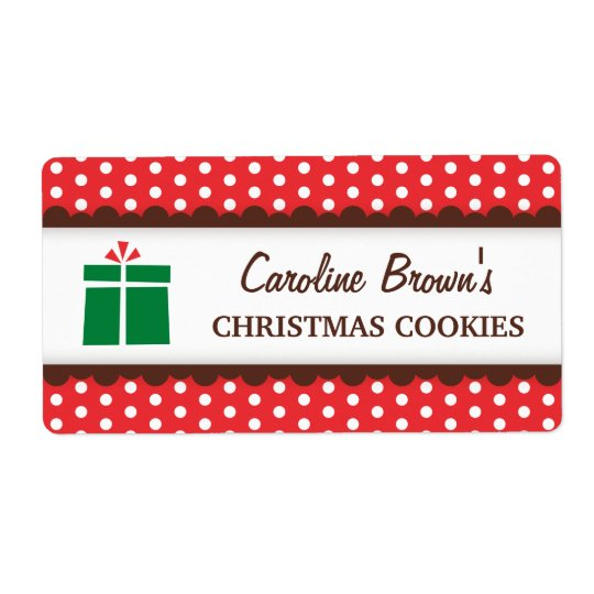 Christmas present red polka dots canning jar label