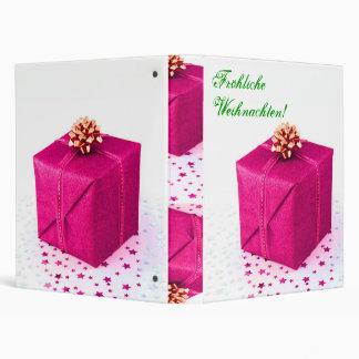 Christmas Presents Frohliche Weihnachten Pink V 3 Ring Binders