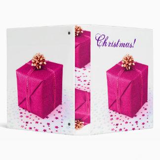 Christmas Presents Pink V Vinyl Binder