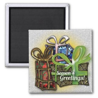 Christmas presents square magnet