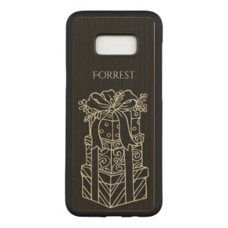: Christmas Presents Stacked Black BG Carved Samsung Galaxy S8+ Case