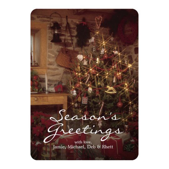 Christmas presents under tree card