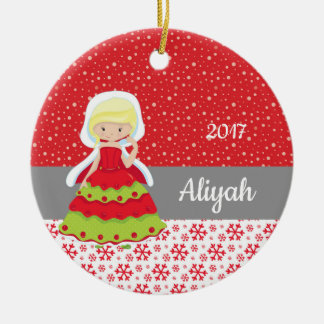 Christmas Princess Snowflakes Snow Ornament Blonde