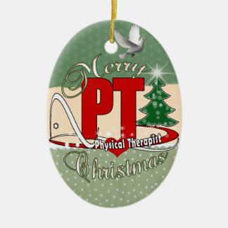 CHRISTMAS PT Physical Therapist Ceramic Oval Ornament