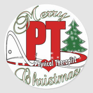 CHRISTMAS PT Physical Therapist Round Sticker