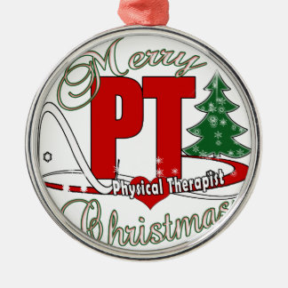 CHRISTMAS PT Physical Therapist Silver-Colored Round Ornament