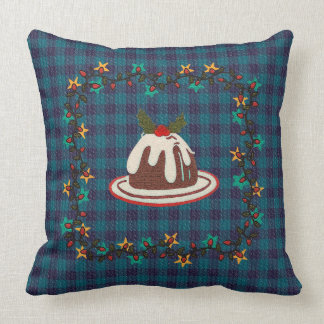 Christmas Pudding Blue Plaid Throw Pillow