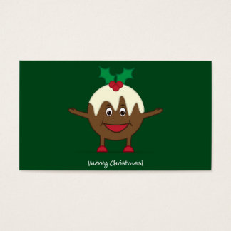 Christmas pudding cartoon character business card