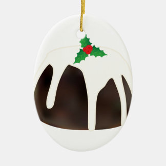Christmas Pudding Ceramic Oval Ornament