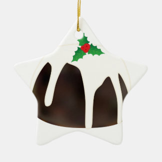 Christmas Pudding Ceramic Star Ornament