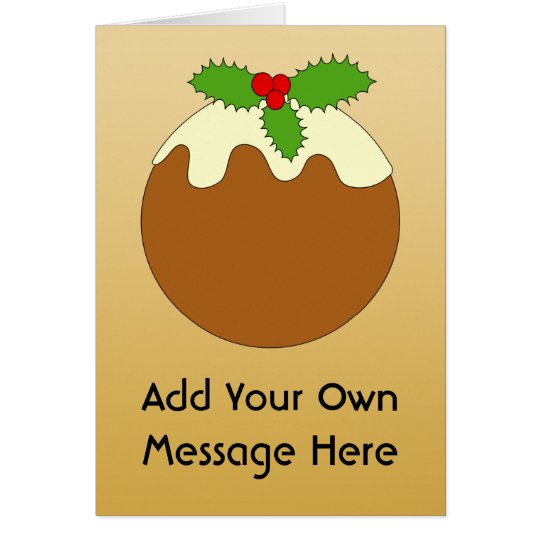 Christmas Pudding. Gold colour background. Card