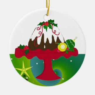 Christmas Pudding Round Ceramic Ornament