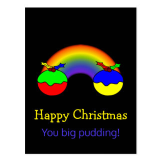 Christmas Puddings and Rainbow Christmas Humour Postcard