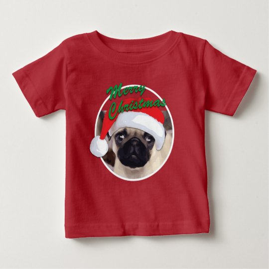 Christmas Pug - Baby Fine Jersey T-Shirt