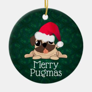 Christmas Pug Circle Ornament