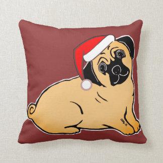 Christmas Pug Cozy Burgundy Pillow