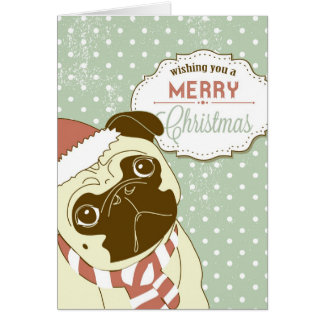 Christmas Pug! Cute little dog in santa hat Card