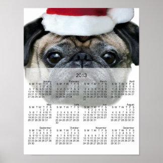 Christmas pug dog 2013 calendar poster
