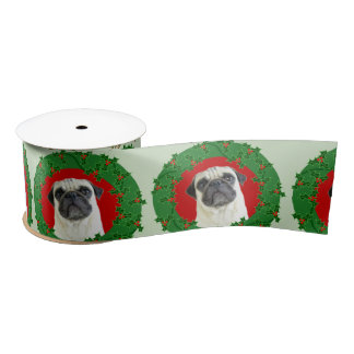 "Christmas  pug dog 3"" satin ribbon"