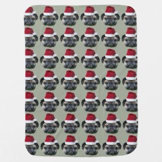 Christmas pug dog baby blanket