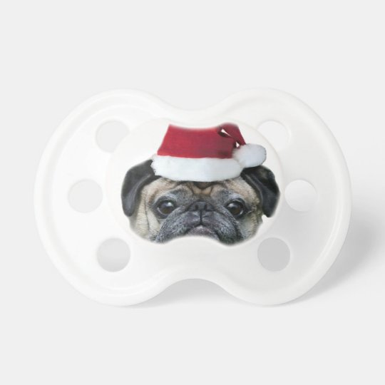 Christmas pug dog baby pacifiers