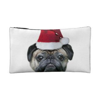 Christmas pug dog cosmetic bags