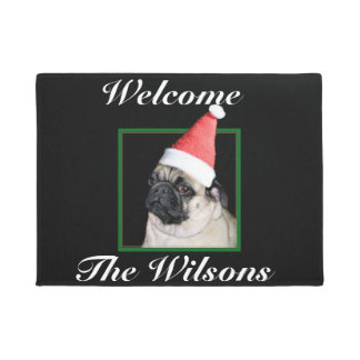 Christmas pug dog doormat