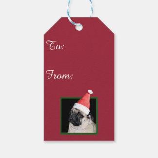 Christmas pug dog gift tags