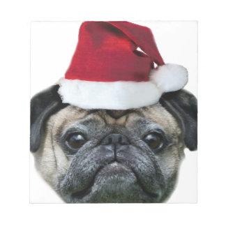 Christmas pug dog notepad