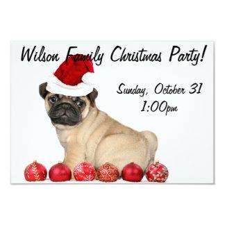 Christmas  Pug dog party invitation