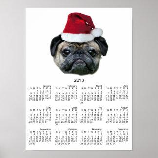 Christmas pug dog print