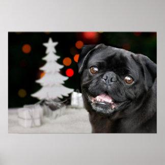 Christmas pug dog poster