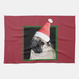 Christmas pug dog towel