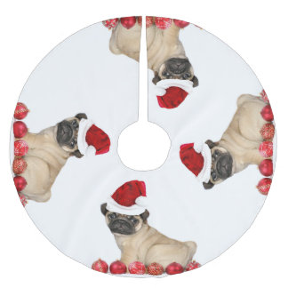 Christmas Pug Dog tree skirt