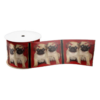 "Christmas  pug dogs 3"" satin ribbon"