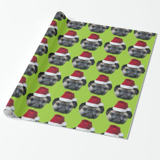 Christmas Pug green wrapping paper