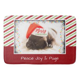 Christmas Pug in Santa Hat with Christmas Lights Bath Mat