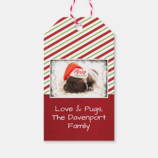 Christmas Pug in Santa Hat with Christmas Lights Gift Tags