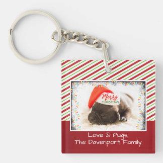 Christmas Pug in Santa Hat with Christmas Lights Keychain