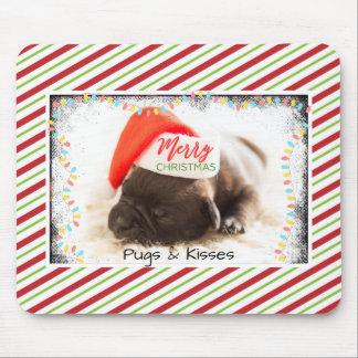 Christmas Pug in Santa Hat with Christmas Lights Mouse Pad