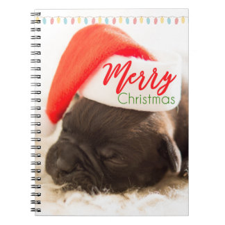 Christmas Pug in Santa Hat with Christmas Lights Spiral Notebook