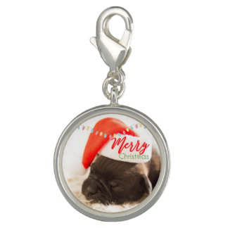 Christmas Pug in Santa Hat with Festive Lights Photo Charms