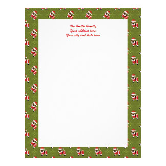 Christmas pug in Santa suit with swirly pattern Personalized Letterhead