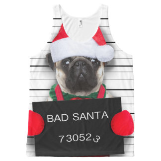 Christmas pug - mugshot dog - santa pug All-Over-Print tank top