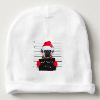 Christmas pug - mugshot dog - santa pug baby beanie